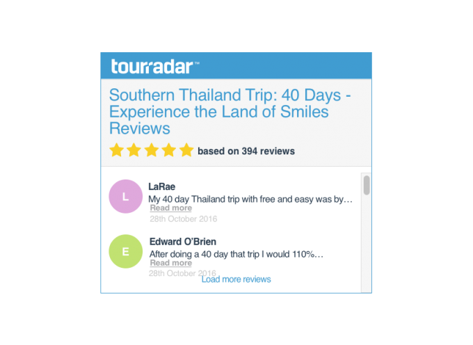 Tour Reviews Widget Tourradar