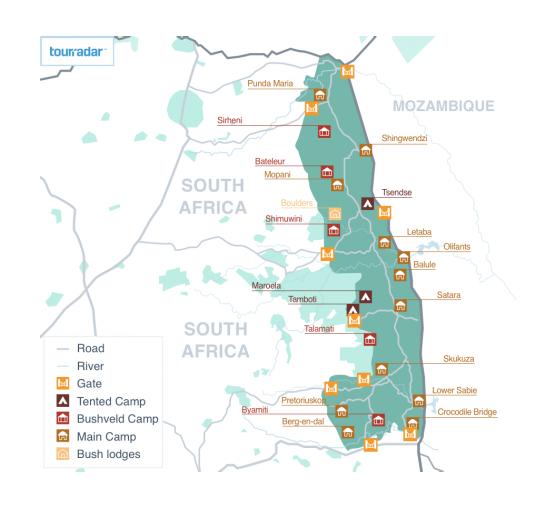 Kruger Maps: Camps, Animals & Surroundings - TourRadar on sun city map, natal map, haarlem map, caprivi strip map, rio de janeiro map, brasov map, worcester map, sharm el sheikh map, london map, port elizabeth map, pietermaritzburg map, viterbo map, gauteng map, johannesburg map, arusha map, limpopo map, democratic republic of congo map, lviv map, cape town map, garden route map,