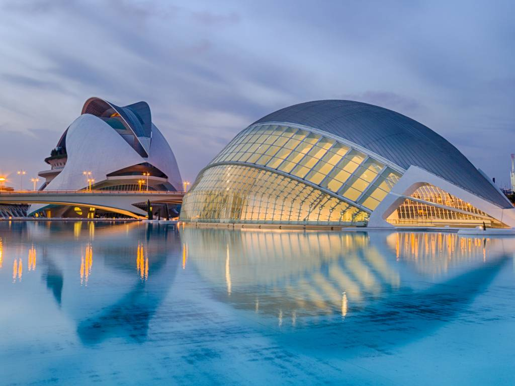 Futuristic architecture in the City of Arts  and Sciences in Valencia