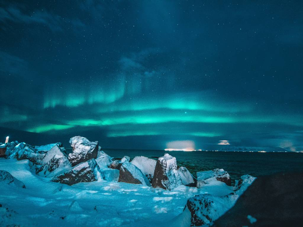 Landscape image of northern lights at night