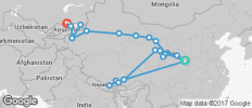 Trans Himalayan between Bishkek and Xi\'an (from Xi\'an to Bishkek) - 25 destinations
