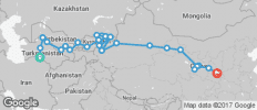 Silk Route between Ashgabat and Xi\'an (Ashgabat to Xi\'an) - 29 destinations