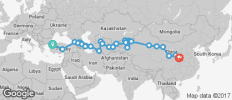 Silk Route between Istanbul and Xi\'an (Istanbul to Xi\'an) - 39 destinations