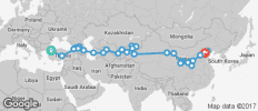 Silk Route between Istanbul and Beijing (from Istanbul to Beijing) - 49 destinations