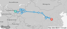 Silk Route between Tashkent and Xi\'an (from Tashkent to Xi\'an) - 21 destinations