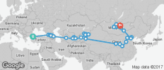Silk Route between Istanbul and Ulaanbaatar (Ulaanbaatar to Istanbul) - 58 destinations