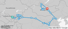 Silk Route between Tashkent and Ulaanbaatar (from Tashkent to Ulaanbaatar) - 38 destinations