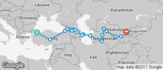 Silk Route between Istanbul and Tashkent (from Istanbul to Tashkent) - 20 destinations