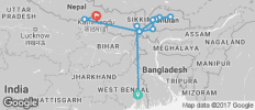 India & Bhutan between Kolkata and Kathmandu - 12 destinations
