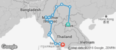 South East Asia between Luang Prabang and Bangkok via Myanmar - 17 destinations