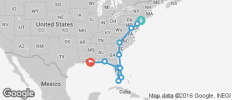 Sunshine States (ex. New York) (from New York City to New Orleans) - 11 destinations