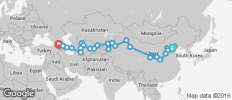 Silk Route between Tbilisi and Beijing (from Beijing to Tbilisi) - 37 destinations