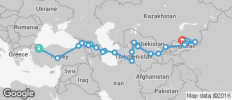 Silk Route between Istanbul and Bishkek (from Bishkek to Istanbul) - 30 destinations