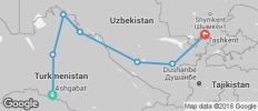 Silk Route between Ashgabat and Tashkent (from Tashkent to Ashgabat) - 7 destinations