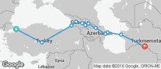 Silk Route between Istanbul and Ashgabat (from Ashgabat to Istanbul) - 12 destinations