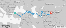 Silk Route between Istanbul and Tashkent (from Istanbul to Tashkent) - 18 destinations