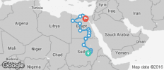Nile Route between Cairo and Khartoum (from Khartoum to Cairo) - 15 destinations