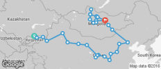 Silk Route between Bishkek and Ulaanbaatar (from Bishkek to Ulaanbaatar) - 33 destinations