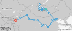 Silk Route between Kashgar and Ulaanbaatar (from Ulaanbaatar to Kashgar) - 30 destinations