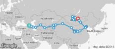 Silk Route between Tbilisi and Ulaanbaatar (from Ulaanbaatar to Tbilisi) - 50 destinations