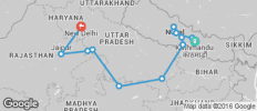 India & Nepal between Kathmandu and Delhi - 13 destinations