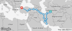 Silk Route between Istanbul and Ashgabat via Iran (from Ashgabat to Istanbul) - 17 destinations