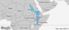 Nile Route between Khartoum and Arba Minch (from Khartoum to Arba Minch) - 32 destinations