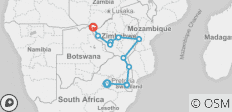 Johannesburg To Victoria Falls (19 Day) Zimbabwe, Swaziland And Limpopo - 13 destinations
