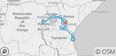 Gorilla Trek & Tanzania Northbound - 25 days - 23 destinations