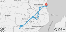 Zanzibar to Zimbabwe - 16 days - 15 destinations