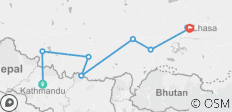 8 Days Kathmandu to Lhasa Overland Trip with EBC Small Group Tour - 7 destinations