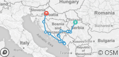 Balkan Essentials 10 Days: Serbia - Bosnia - Montenegro - Croatia - 17 destinations