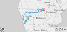 Windhoek to Vic Falls Elephant Route - 13 destinations