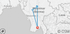 8Days 7Nights Yangon-Mandalay-Amarapura-Mingun-Ava-Bagan-Yangon with 1Night on cruise - 7 destinations
