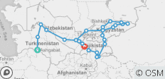 Silk Route between Ashgabat and Dushanbe - 26 destinations