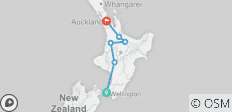 Northern Explorer from Wellington to Otorohonga, Glowworm Caves, Hobbiton. Wai-O-Tapu, Huka Falls finish Auckland. - 6 destinations
