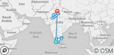 30 Days Trip to South India and North India - 33 destinations