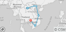 16 Days Discover Package Tour Vietnam & Cambodia & Laos - 8 destinations