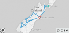 \'Sweet As\' South (Start Wellington, End Christchurch, Latest, 10 Days) - 16 destinations