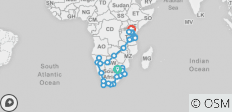 South Africa to Kenya - 49 destinations