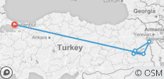 Istanbul to Mount Ararat (with 2 flights) - 7 destinations