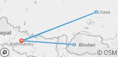 Multi-Nation-Tour (Nepal-Bhutan-Tibet) 12 Days - 12 destinations
