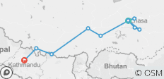 10 Days -Lhasa to Kathmandu Tour via Everest Base Camp  - 11 destinations