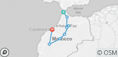 6 Days Private tour from Tangier to Casablanca visiting Chefchouan, Fes & Marrakech - 8 destinations