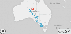 Melbourne to Alice Springs Overland - 9 destinations