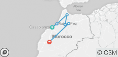 Casablanca to Marrakech visiting Chefchaouen and Fes - 6 destinations