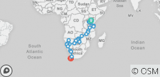 Kenya to Cape Town - 33 destinations