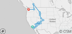 USA Road Trip: Los Angeles to Seattle - 18 destinations