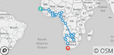 Western Trans Africa between Dakar and Cape Town - 54 destinations