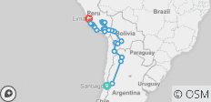 Patagonia & Andes between Lima and Santiago (Lima to Santiago) - 27 destinations